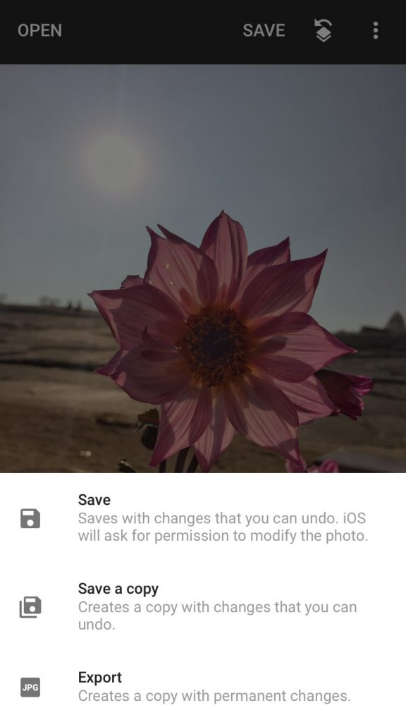Save or export using Snapseed app