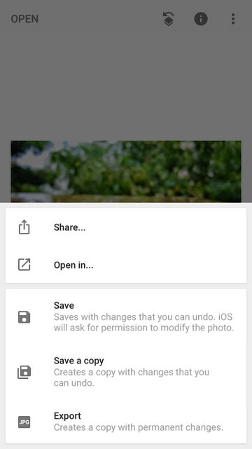 You can share it to any other app using Snapseed