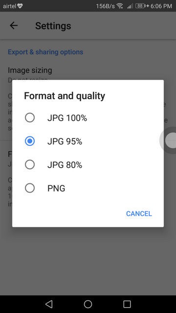 Full size resolution photos in Snapseed on Android