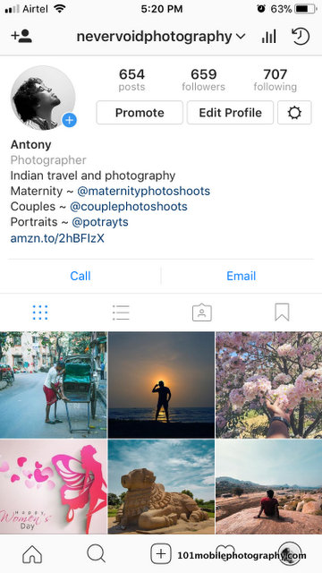Get Photographer title in your Instagram Bio - 101 Mobile